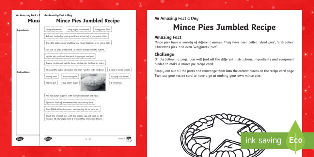 Amazing Fact a Day KS2 Countdown to Christmas Day 7 Mince Pies Recipe Card Activity Sheet - Amazing Fact Of The Day, activity sheets, powerpoint, starter, morning activity, December, Christmas