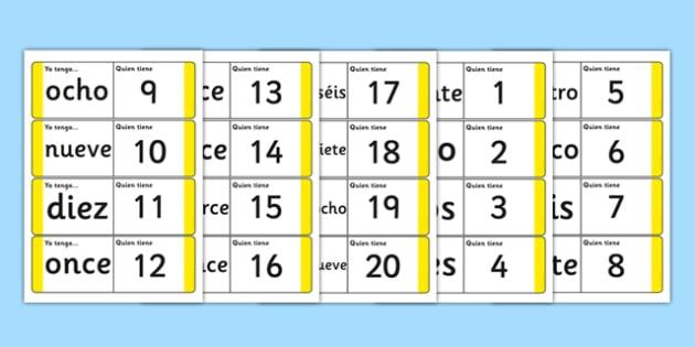 Spanish Numbers 1 20 Loop Cards Spanish Spanish Number Loop