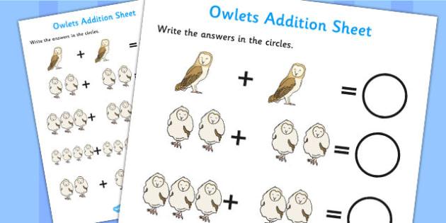 Owl Addition Sheet - owl, addition, sheet, add, maths, story