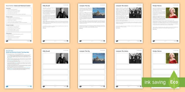Blood Brothers: Social and Historical Context Activity Pack - Blood Brothers, context, Liverpool, Willy Russell, Marilyn Monroe, unemployment, social class.