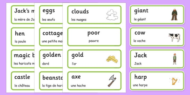 Jack and the Beanstalk Word Cards French Translation - EAL, translated, bilingual, traditional tales, fairy tales