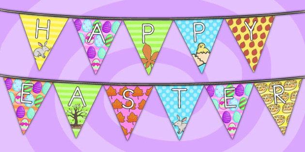 Happy Easter Display Bunting - happy easter, easter, christianity