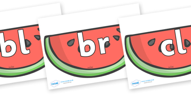 Initial Letter Blends on Watermelons to Support Teaching on The Very Hungry Caterpillar - Initial Letters, initial letter, letter blend, letter blends, consonant, consonants, digraph, trigraph, literacy, alphabet, letters, foundation stage literacy