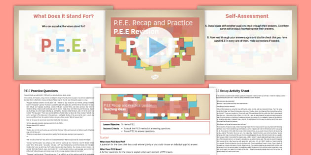 PEE Recap and Practice Lesson Pack - PEE, comprehension, reading, answering questions, evidence, explanation, point