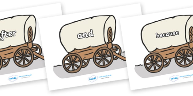 Connectives on Wagons - Connectives, VCOP, connective resources, connectives display words, connective displays