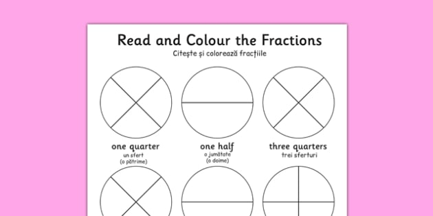 Year 1 Read and Colour a Fraction Romanian Translation - romanian, fractions, colours, reading