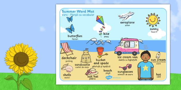 Summer Themed Scene Word Mat Romanian Translation - romanian, seasons, visual aid, keywords