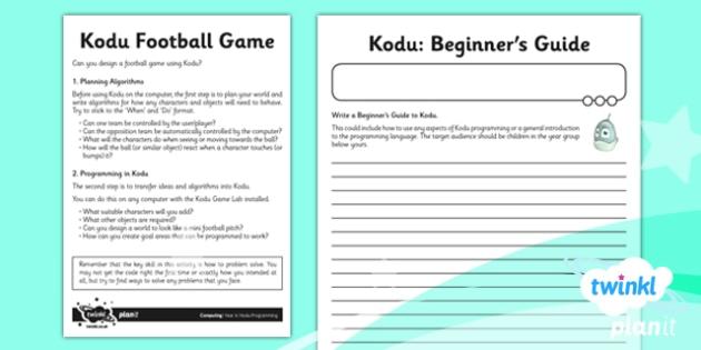 Computing: Kodu Programming Year 6 Unit Home Learning Tasks