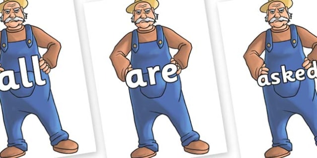 Tricky Words on Angry Farmer - Tricky words, DfES Letters and Sounds, Letters and sounds, display, words