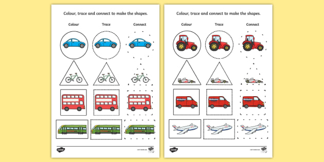 Transport 2D Shape Colour Trace and Join the Dots - shapes, dot