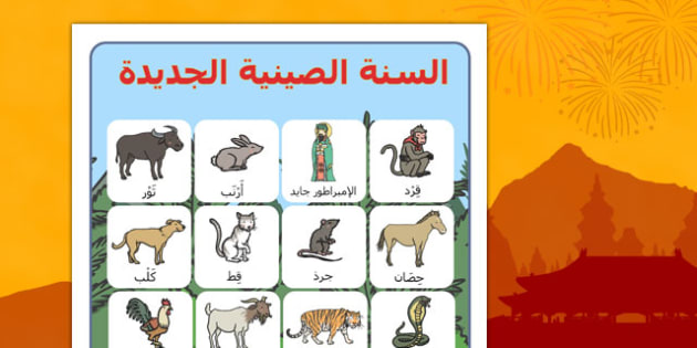 Chinese New Year Story Vocabulary Poster Arabic - arabic, chinese new year, story, vocabulary, poster, display