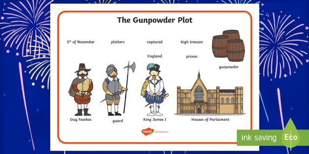 The Gunpowder Plot Word Mat - Story, Bonfire night, word mat, writing aid, mat, Guy Fawkes, bonfire, Houses of Parliament, plot, treason, fireworks, Catholic, Protestant, James I