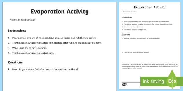 Exploring Evaporation Activity