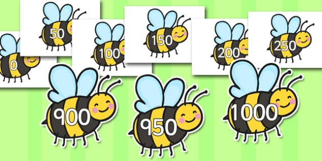 Multiples of 50 Numbers 0 to 1000 on Bees - posters, nature, animals, numerals, fifties, group, lots of, display, visual aid, maths, numeracy, multiply, grouping, counting