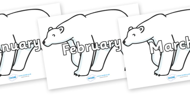 Months of the Year on Polar Bears - Months of the Year, Months poster, Months display, display, poster, frieze, Months, month, January, February, March, April, May, June, July, August, September