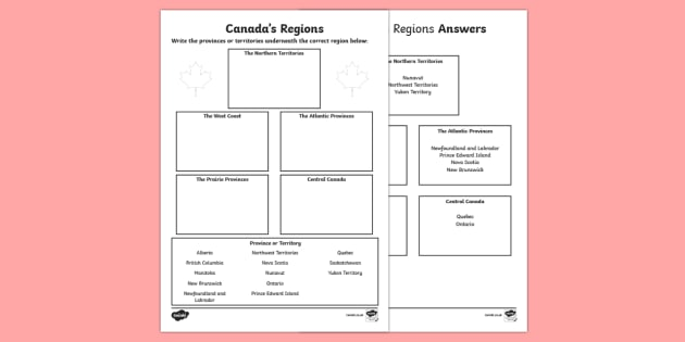 Canada's Regions Activity - Uniquely Canadian, Canada's regions, Canada's provinces, Canada's Territories, geography, map, Ca