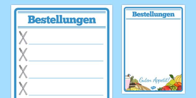 Bestellungen Restaurant Role Play Notepad German - german, food, roleplay, props, cafe