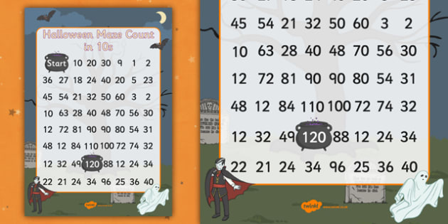 Halloween Counting in 10s Maze - Halloween, Count, Maze, October