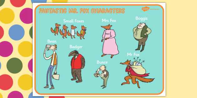 Character Word Mat to Support Teaching on Fantastic Mr Fox - Fantastic Mr Fox, fantastic mr fox word mat, word mat, fantastic mr fox keywords, roald dahl word mat