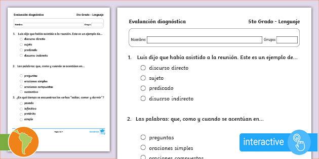 Examen Diagnostico 5to Grado Lenguaje Y Comunicacion En Pdf