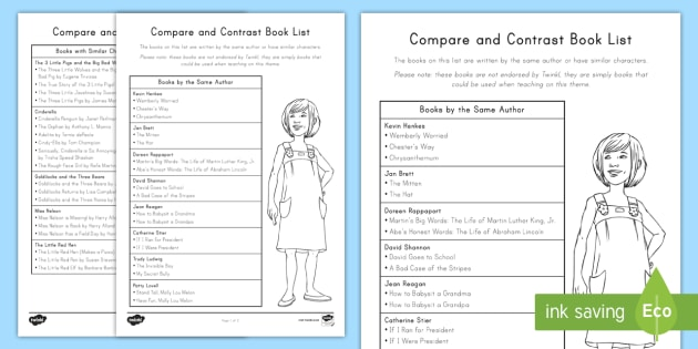 books for comparing and contrasting