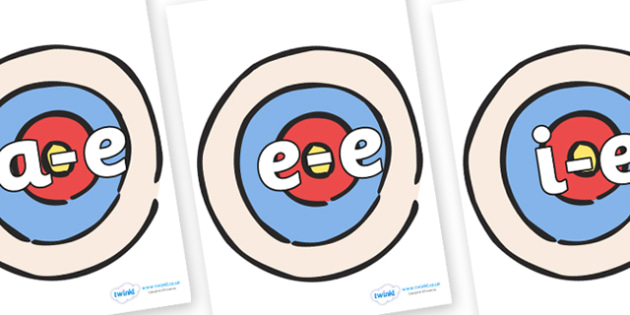 Modifying E Letters on Targets - Modifying E, letters, modify, Phase 5, Phase five, alternative spellings for phonemes, DfES letters and Sounds