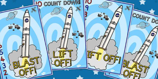 Space Rocket Countdown Display Posters 10-0 - Displays, Poster
