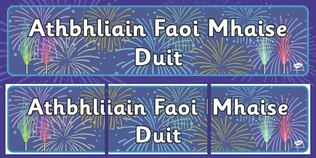 Happy New Year Singular Banner Gaeilge - gaeilge, happy new year, singular, banner, display