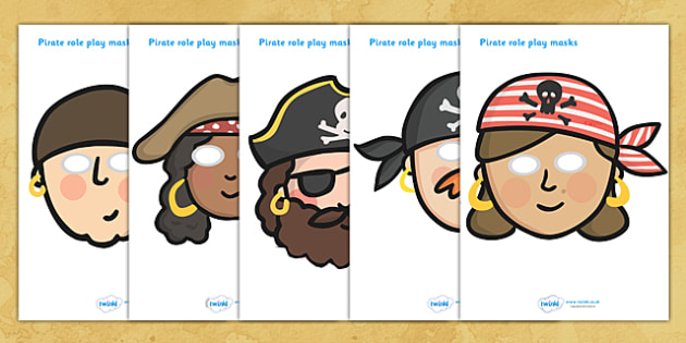 Pirates Role Play Masks - Role play, pirates, pirate, topic,  pirate, pirates, treasure, ship, jolly roger, ship, island, ocean
