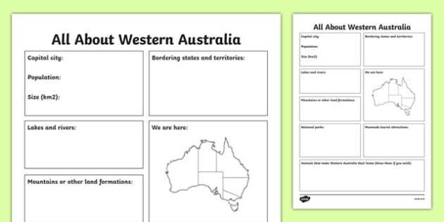 All About Western Australia Research Activity Sheet - australia, Geography, research, questions, questioning, answers, Western Australia, Perth, facts, states, territories, Australia, worksheet