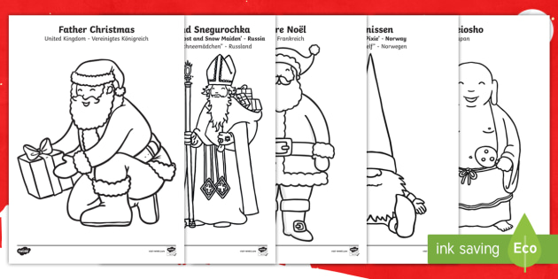 Father Christmas Around The World Colouring Pages English German