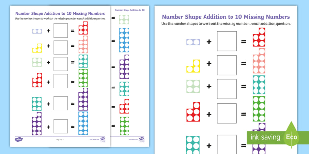 Number Shapes Addition to 10 Missing Numbers Worksheets - EYFS Addition