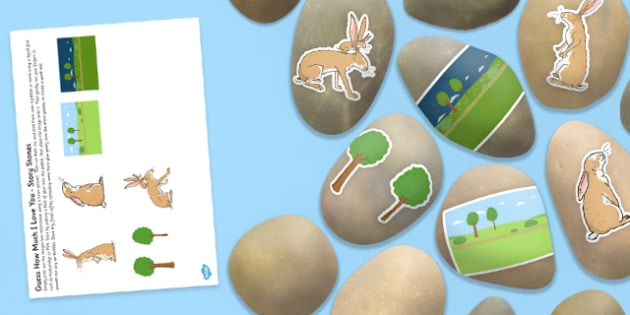 Story Stone Image Cut Outs to Support Teaching on How Much Do I Love You? - Story stones, stone art, painted rocks,  storytelling, big brown hare, little brown hare