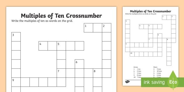 KS1 Multiples of 10 Crossnumber Worksheet Activity Sheet