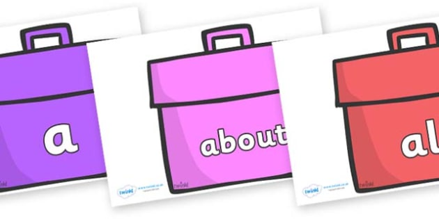 100 High Frequency Words on Book Bags - High frequency words, hfw, DfES Letters and Sounds, Letters and Sounds, display words