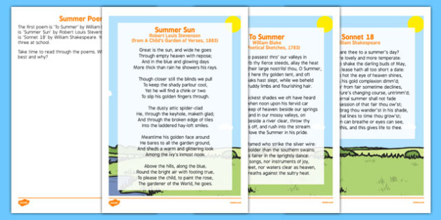 Elderly Care Summer Poems - Elderly, Reminiscence, Care Homes, Summer