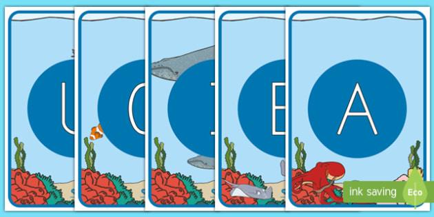 Tarjetas de fonemas - vocales: Bajo el mar - Bajo el mar, proyecto, lecto, lectura, leer , escritura, Spanish