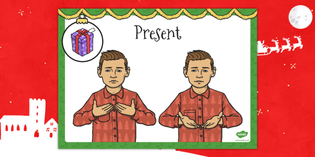 A4 British Sign Language Sign for Present Left Handed - present