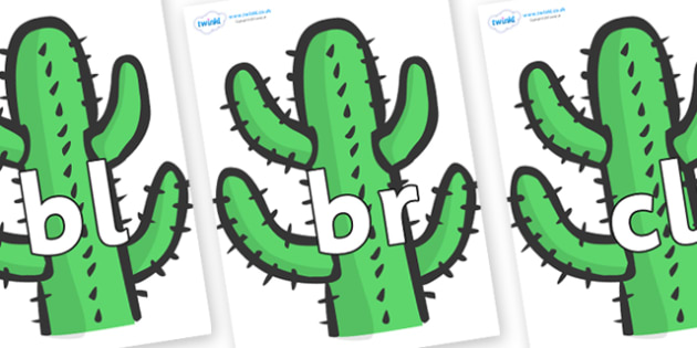 Initial Letter Blends on Cactus - Initial Letters, initial letter, letter blend, letter blends, consonant, consonants, digraph, trigraph, literacy, alphabet, letters, foundation stage literacy