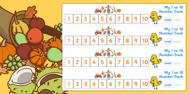 Autumn Number Track (1-10) - Autumn, Maths, Math, number track, numbertrack, Counting, Numberline, Number line, Counting on, Counting back, Autumn, seasons, autumn pictures, autumn display, leaves, acorn, conker