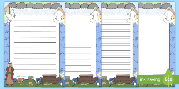 Noah's Ark A4 Page Borders - Noah's Ark, bible story, story, page border, border, writing template, writing aid, writing, noah, tools, ark, animals, rain, rainbow, flood, dove, land