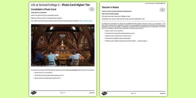 La vie scolaire 2 Carte photo Higher Tier - french, School, école, education, éducation, college, lycée, photo, picture, card, higher