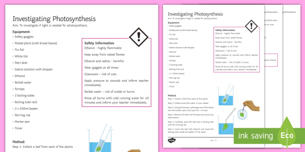Photosynthesis investigation instruction sheet print out photosynthesis investigation instruction sheet print out investigation help sheet science practical method ccuart Gallery