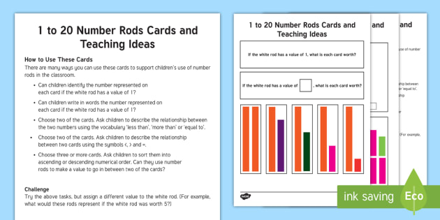 picture about Cuisenaire Rods Printable called 1 in direction of 20 Range Rods Playing cards and Schooling Options - Cuisenaire