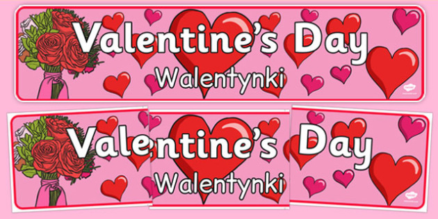 Valentine's Day Display Banner Polish Translation - polish, Valentine's Day, Valentine, love, Saint Valentine, heart, kiss, display, banner, sign, poster, cupid, gift, roses, card, flowers, date, letter, girlfriend, boyfriend, partner