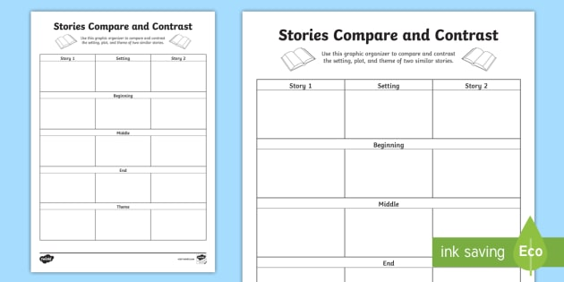 Stories Compare And Contrast Worksheet Activity Sheet