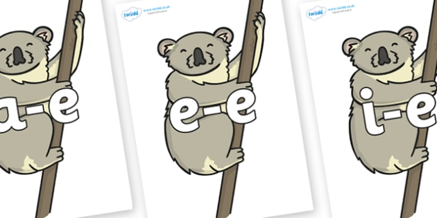 Modifying E Letters on Koalas - Modifying E, letters, modify, Phase 5, Phase five, alternative spellings for phonemes, DfES letters and Sounds