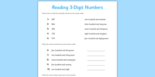 reading 3 digit numbers worksheet worksheet reading 3 digit numbers. Black Bedroom Furniture Sets. Home Design Ideas