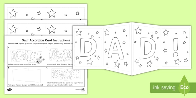 dad accordion gift card template dad accordion card template