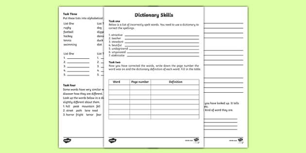 dictionary skills worksheets english resource twinkl. Black Bedroom Furniture Sets. Home Design Ideas